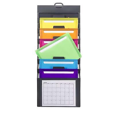 Wall Mount File Holder Organizer Office Folder Hanging Letter Storage 6-pocket
