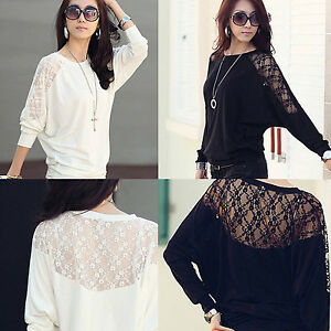 Sexy-Hot-Womens-Ladies-Batwing-Lace-Long-Sleeve-Ladie-Loose-T-Shirt-Blouse-Top