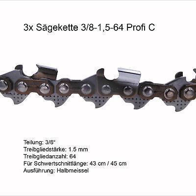 3 Stück Profi C Sägeketten 3/8 1.5 mm 64 TG Ersatzkette für Stihl Dolmar