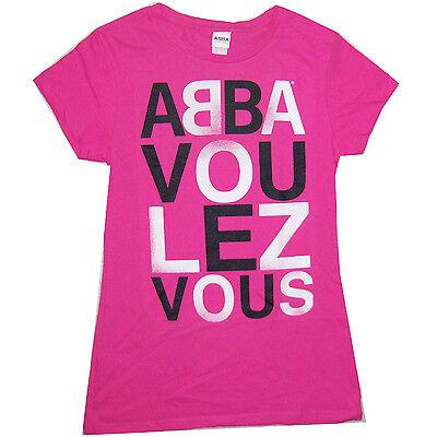 Abba Voulez Vous Text Logo Girls Juniors Hot Pink T Shirt XL New Official