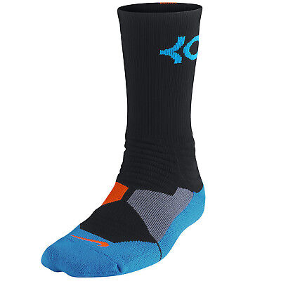 bb33360fed23 NIKE KD Hyper Elite Basketball Crew Socks Black Blue Orange SX4814-048 LG 8-  12