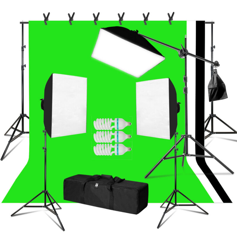 Photography 3 Softbox Light Stand Continuous Lighting Kit Photo Video Studio