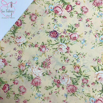 Rose and Hubble Ivory Fabric Cream Vintage Floral 100% Cotton Poplin Flower Mate