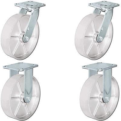 Casterhq - 8 X 2 Steel Wheel Casters - Set Of 4 Casters - 2 Swivel 2 Rigid