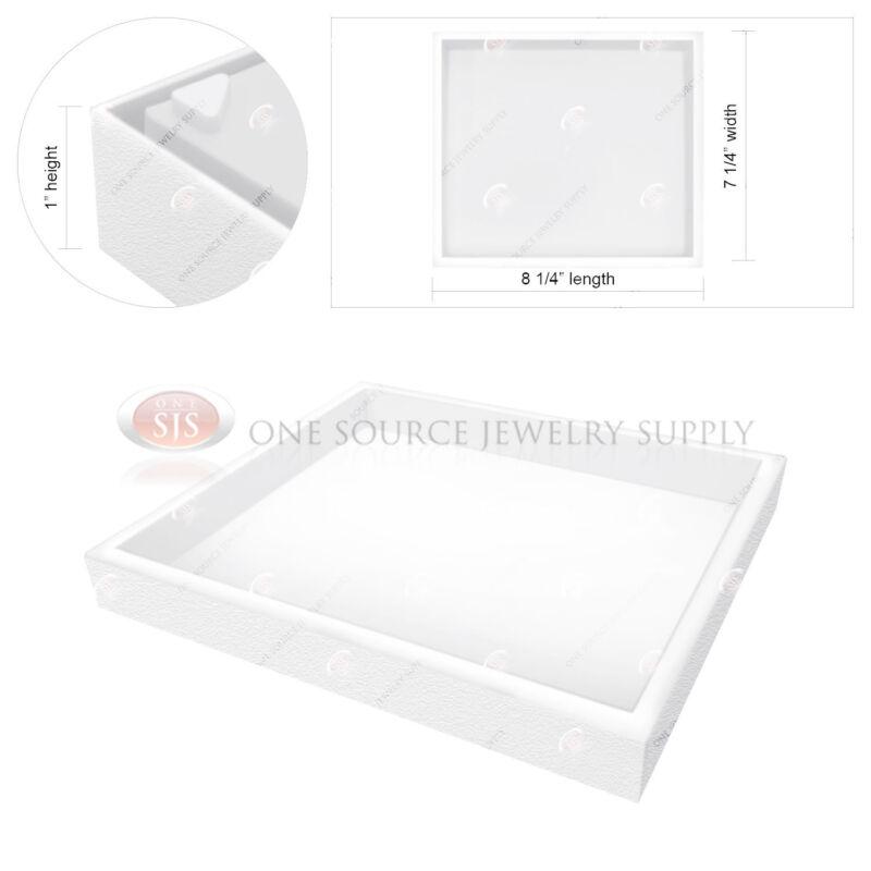 "Stackable 1"" White Plastic Jewelry Display Half-Tray Hobby Storage Organizer"