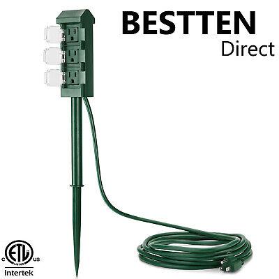 BESTTEN Outdoor Power Strip Yard Power Stake 3 Outlet w/ Cover 12 FT Cord ETL ()