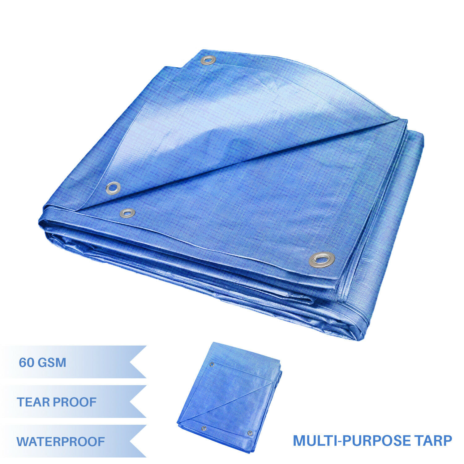 EK Blue Multi-purpose Waterproof Poly Tarp Cover Tent Shelter Camping Tarpaulin