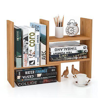 Homfa Bamboo Desk Storage Organizer Adjustable Desktop Display Shelf Rack