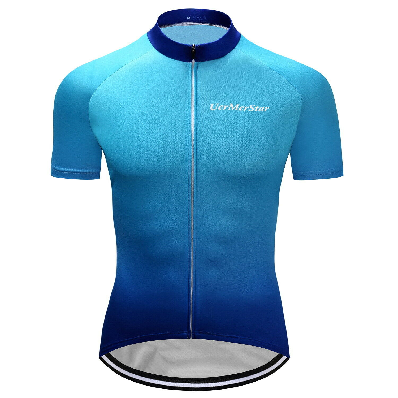 Mens Cycling Short Sleeve Bike Jersey Race Jerseys Shirt Blu