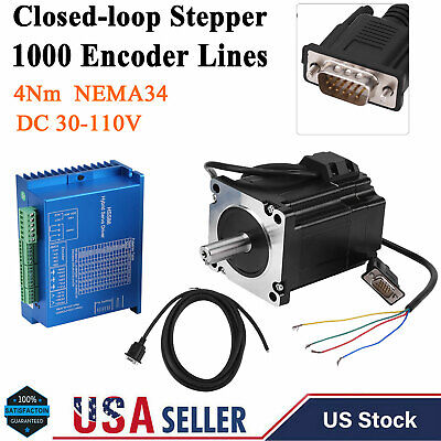 Nema 34 Closed Loop Stepper Motor Kit Hbs86h Servo Driver 4n.m 01000rp