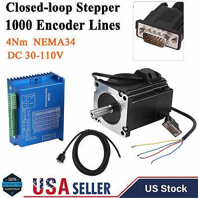 Nema 34 Closed Loop Stepper Motor Kit Hbs86h Hybrid Servo Driver 4n.m 03000rp