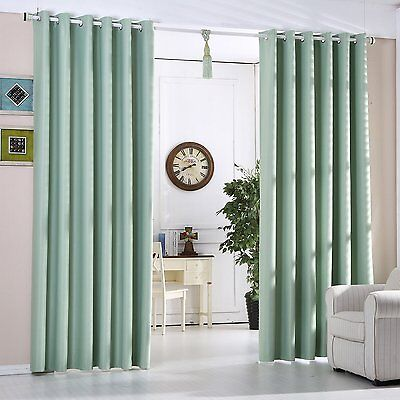 Mint Green Blackout Curtains Heavy Fabric Ready Made Eyelet ...