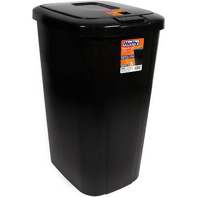 Hefty Trash Can Garbage 13 Gallon Bin Touch Lid Spring Loaded Tall Slim Narrow N