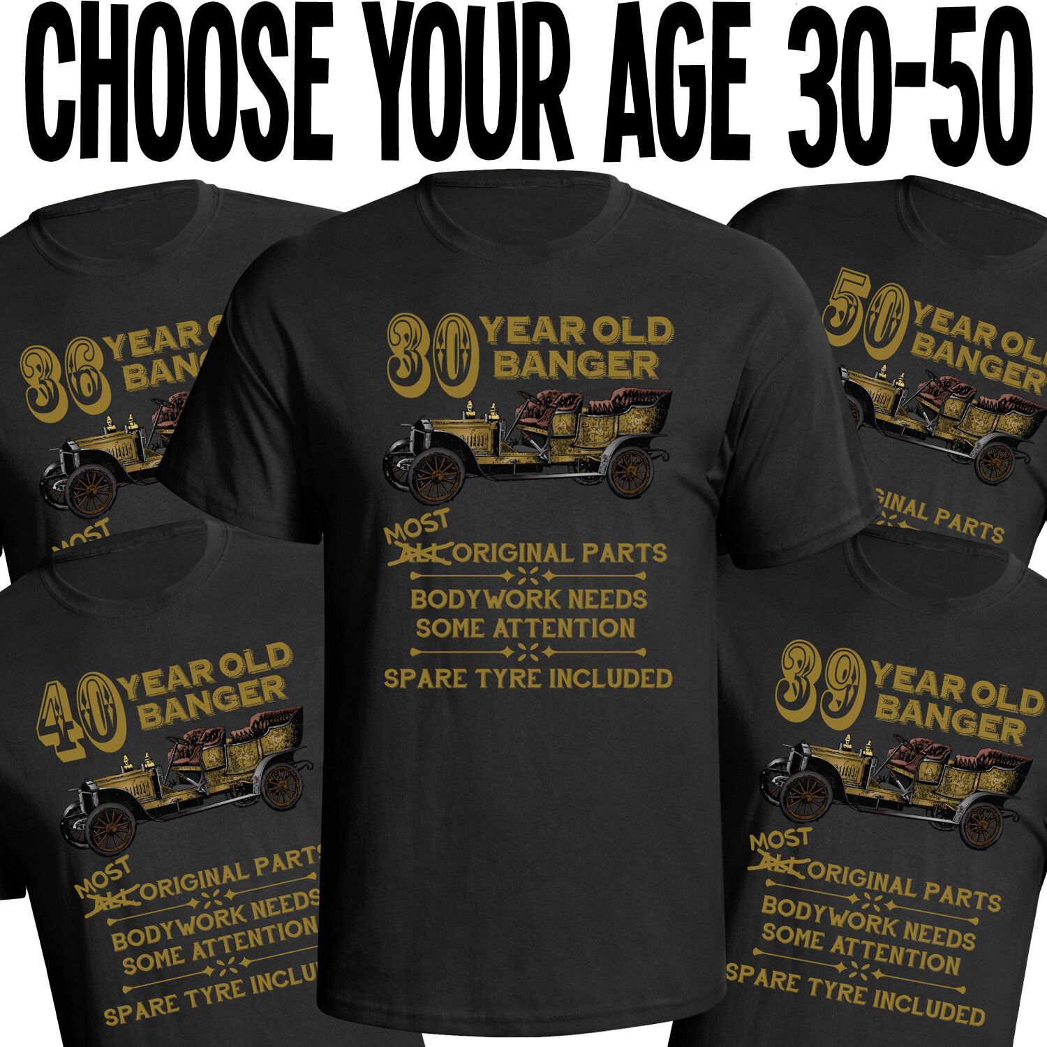 aa2b1cdd2a3 Details about Birthday Old Banger Mens T-Shirt Funny Gift Choose Year In  Listing From 30 - 50