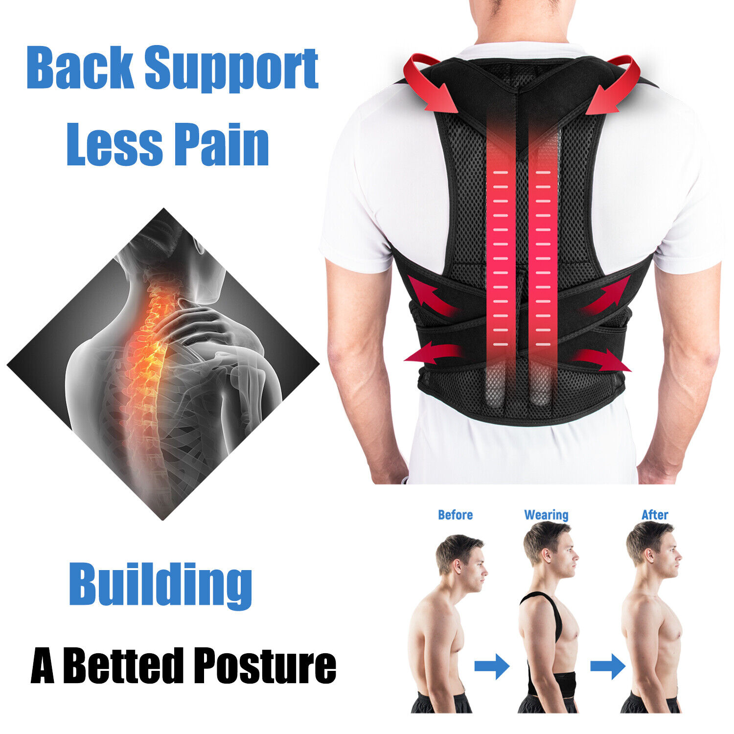 Posture Corrector Belt Adjustable Low Back Strong Support Shoulder Brace Belt Health & Beauty