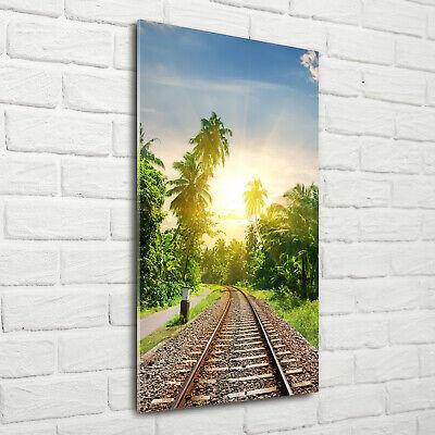 Wandbild Kunst-Druck auf Hart-Glas hochkant 70x140 Eisenbahnschienen ()