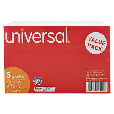Universal Unruled Index Cards 5 X 8 White 500pack 47245