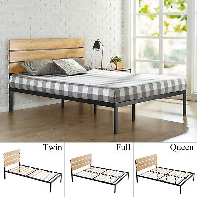 Full Slat Bedroom - Twin/Full/Queen Size Metal Platform Bed Frame w/Wood Slat Bedroom Furniture