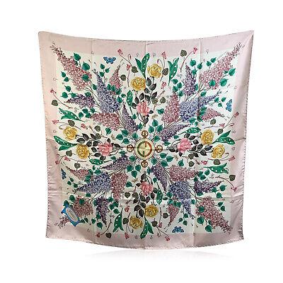 Authentic Gucci Vintage Silk Scarf Glicine Wisteria GG Logo Accornero