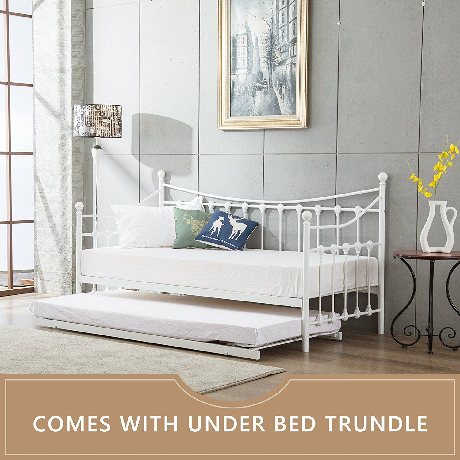 Day Bed.Details About Glossy Vanilla Day Bed Versailles White With Without Trundle Mattresses Daybed