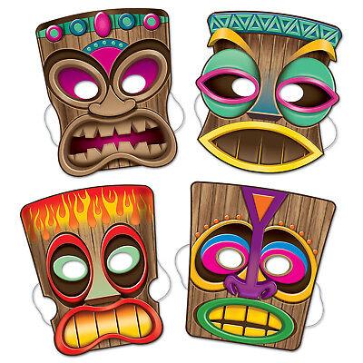 4 VIBRANT COLORED Tribal Tiki Masks 10