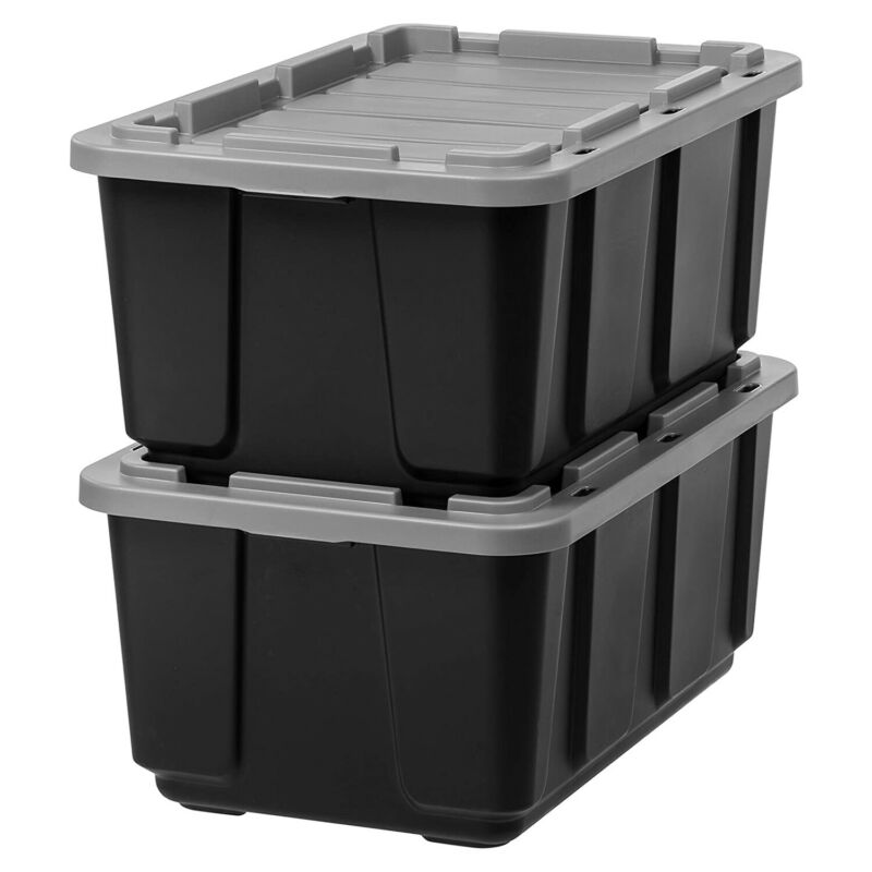 IRIS USA 27 Gallon Stackable Utility Storage Tote with Secure Lid Black (2 Pack)