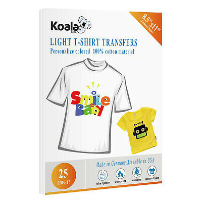 Koala 25 Sheets 8.5x11 Heat Transfer Paper T-shirt 100 Cotton Light Iron On