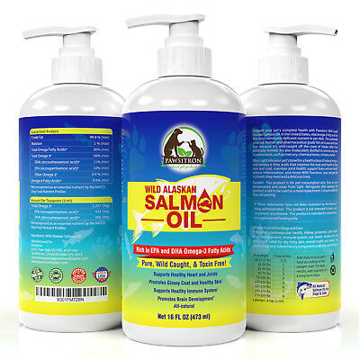 Omega 3 Salmon Fish Oil For Dogs And Cats Shiny Coat Reduce Inflammation 16 Oz