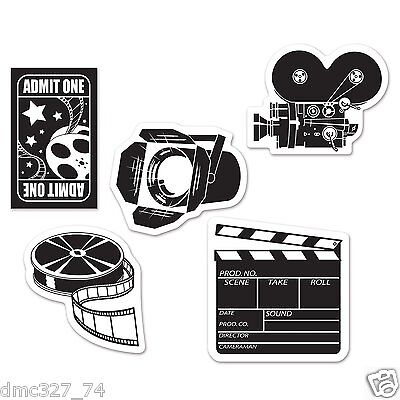 Movie Cutouts (10 Hollywood Movie Night Party Decorations Mini MOVIE SET Die Cut)