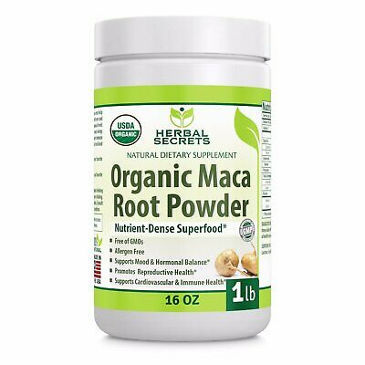Herbal Secrets USDA Certified Organic Maca Root Powder- 16 o