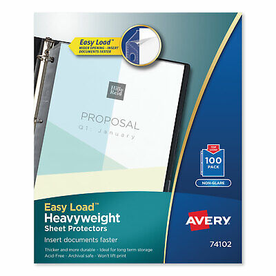 Avery Top-load Poly Sheet Protectors Heavy Gauge Letter Nonglare 100box 74102