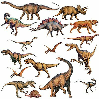 DINOSAURS 16 Wall Stickers T-Rex Boys Bedroom Decorations Room Decor Decals NEW