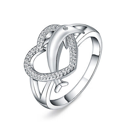 Silver dolphin heart Fashion Wedding lady Cute women Rings Jewelry nice Gift hot