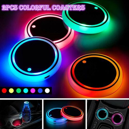 2X LED Cup Pad Car Accessories Light Cover Interior Decoration Lights 7 Colors Car & Truck Parts