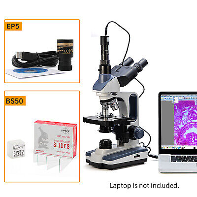 Swift 40x-2500x Veterinary Trinocular Microscope Lab Led 5mp Usb Cameraslides