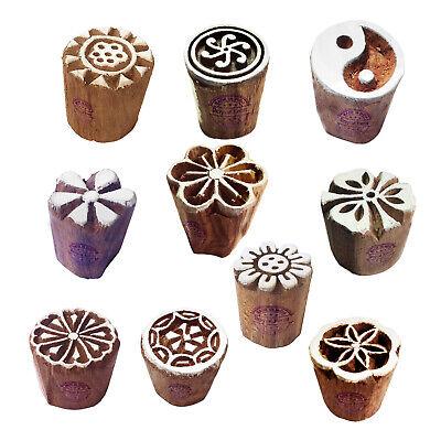 Mehndi Wood Blocks Elegant Small Floral Round Shape Printing Stamps Set Of 10