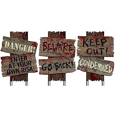 Zombie Haunted Cemetery Sidewalk Signs Halloween Props Horror Prop House Party - Cemetery Halloween Props