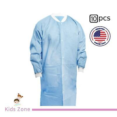Isolation Gown With Knit Cuff Disposable Dental Medical - Blue Medium 10 Pcs