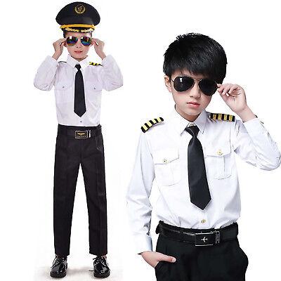 Airline Pilot Kids Costumes Cool Boys Captain Roleplay 6Pcs Dress Up Uniform Set ()
