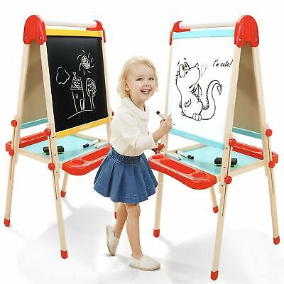 Wooden Art Easel For Kids, Childrens With Magnetic Chalkboard,Toddlers Paper - Easel For Toddler