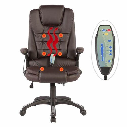 Executive Ergonomic Massage Chair Heated Vibrating Computer Brown Office Desk