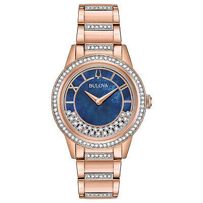 Bulova Women's Turnstyle Quartz Crystal Accents Rose Gold Tone 32mm Watch 98L247