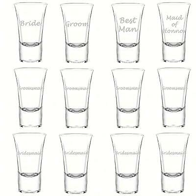 Bridesmaid Shot Glasses (Wedding Party Set 12 Laser Shot Glasses 1.75 oz Engraved Groomsman Bridesmaid)