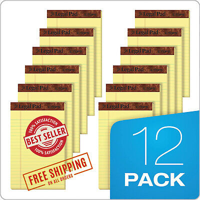 Writing Pads Jr. Legal Rule 5 X 8 Canary Yellow Paper 50 Sheets Notepad 12 Pack