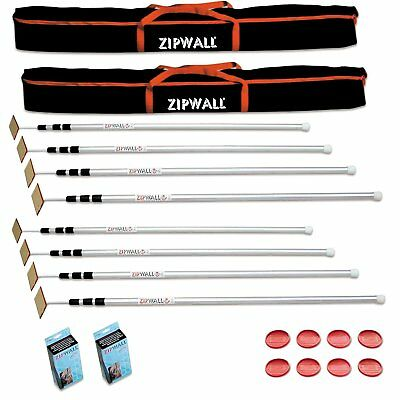 Zipwall 12 Slp4 12 Foot Spring-loaded Poles For Dust Barriers 2-pack New