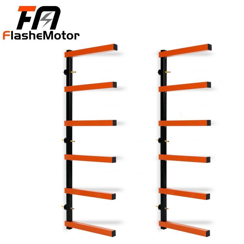 6 Shelf Lumber Storage Rack Wall-Mounted SteelWood Pipes Rack 660LB New