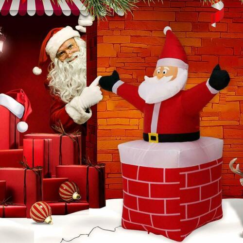 5.6 Ft Christmas Inflatable Chimney Santa Clause LED Lights Yard Holiday Decor
