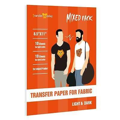 Inkjet Printable Heat Transfer Paper Iron On Dark Light T-shirt 20 Sheets 8.5x11