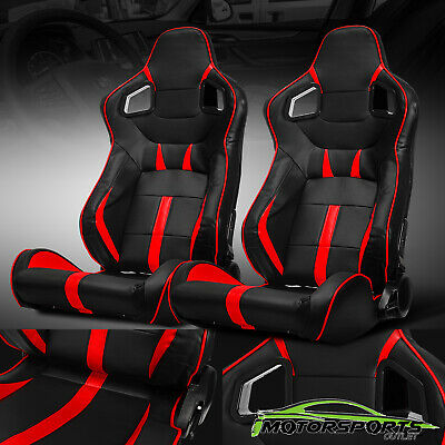 Black/Red Reclinable PVC Main Side Design Left/Right Sport Racing Seats W/Slider Black Racing Seats