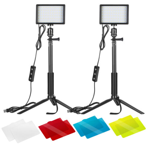 2 Packs Dimmable 5600K USB LED Video Light with Adjustable Tripod